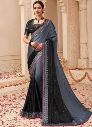Dilettante Black and Grey Weaving Art Silk Shaded Saree