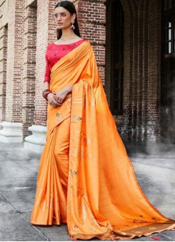 Dilettante Orange Embroidered Traditional Saree