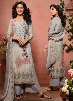 Distinctive Faux Crepe Digital Print Designer Palazzo Salwar Suit