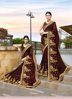 Distinctive Faux Georgette Brown Patch Border Classic Designer Saree