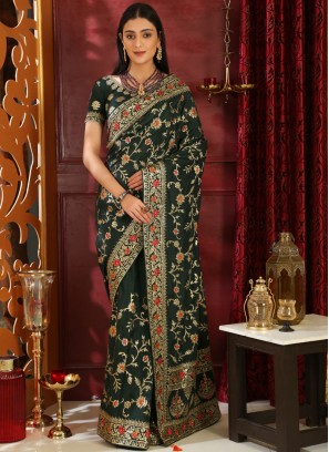 Distinctive Stone Work Green Art Silk Classic Saree