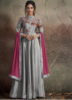 Distinctive Tafeta Silk Grey Embroidered Designer Gown