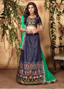 Distinctively Blue Digital Print Trendy Lehenga Choli