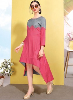 Distinguishable Fancy Pink Party Wear Kurti