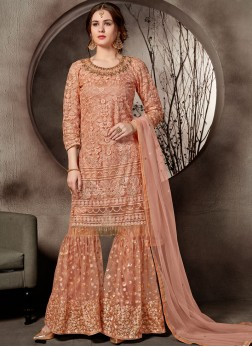 Distinguishable Net Mehndi Designer Palazzo Salwar Suit