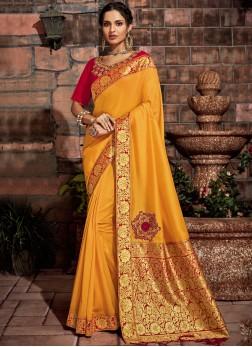 Distinguishable Yellow Wedding Designer Saree