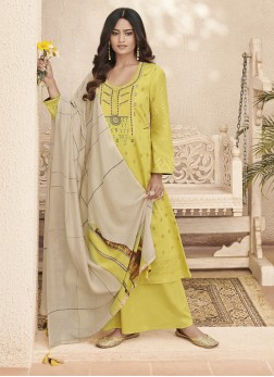 Divine Abstract Print Linen Yellow Designer Pakistani Suit