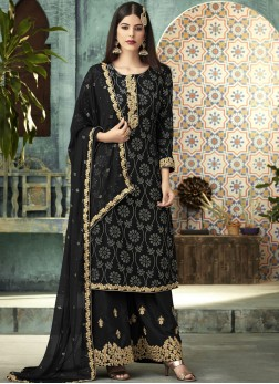 Divine Embroidered Art Silk Black Designer Palazzo Salwar Suit