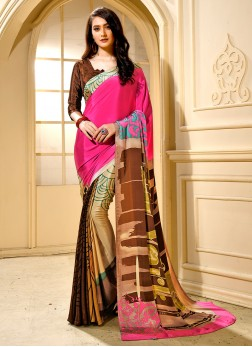 Divine Multi Colour Faux Crepe Trendy Saree