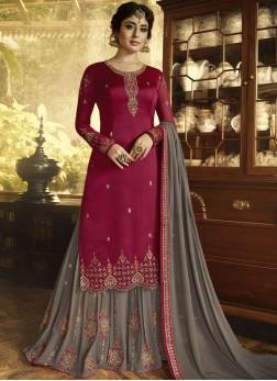 Divine Zari Grey and Magenta Faux Georgette Designer Pakistani Suit