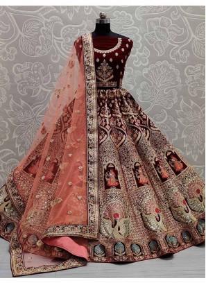 Dori - Multi Thread Embroidery Velvet Lehenga Choli In Cherry