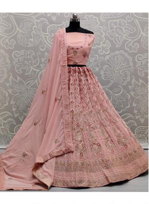 Dori Tread Embroidery Lehenga Choli In Peach