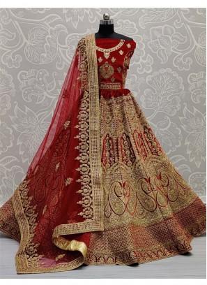 Dori - Zari Embroidery Bridal Lehenga Choli In Red