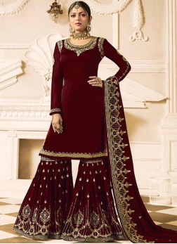 Drashti Dhami Embroidered Maroon Faux Georgette Designer Pakistani Suit