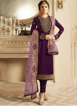 Drashti Dhami Georgette Satin Churidar Designer Suit