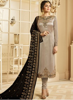 Drashti Dhami Georgette Satin Festival Churidar Designer Suit
