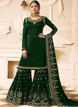 Drashti Dhami Lace Green Faux Georgette Designer Pakistani Suit