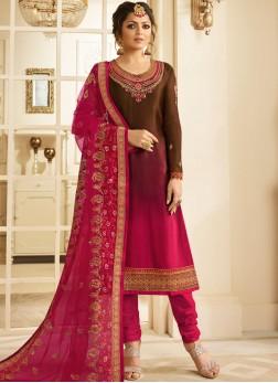 Drashti Dhami Satin Zari Brown and Hot Pink Pant Style Suit