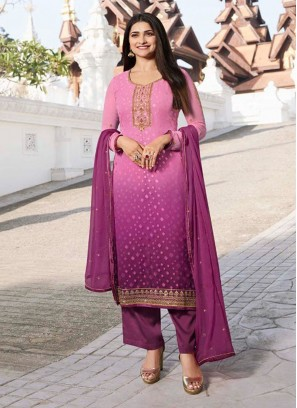 Ecstatic Festival Style Shaded Brasso On Salwar Suit In Pink - Violet