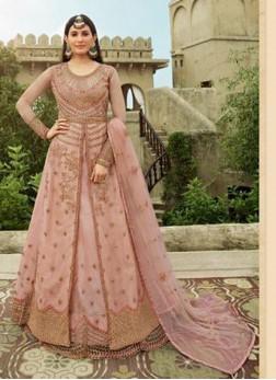 Elegance Peach Embroidery Anarkali Lehenga Style Salwar Suit