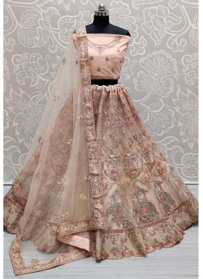 Elegance Tread & Dori Work On Net Bridal Lehenga Choli In Beige
