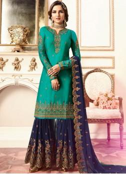 Elegant Blue Resham Faux Georgette Designer Pakistani Suit
