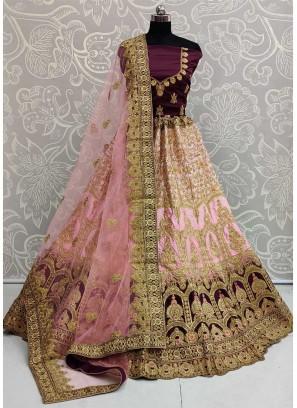 Elegant Bridal Wear Embroidery Work On Lehenga Choli In Peach - Purple
