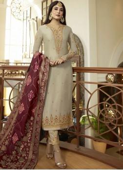 Elegant Embroidered Grey Salwar Suit