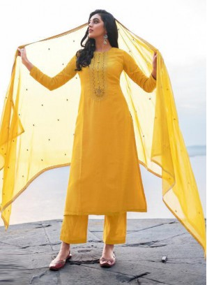Elegant Embroidery Georgette Pant Style Salwar Suit In Yellow