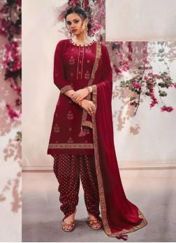 Elegant Fancy Wear Patiyala Style Salwar Suit On Maroon