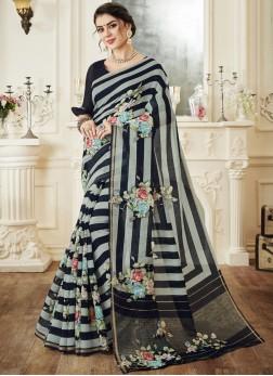 Elegant Linen Print Printed Saree