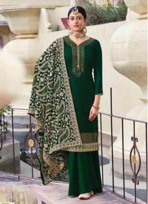 Elegant Wedding Wear Fancy Work On Salwar Suit In Green
