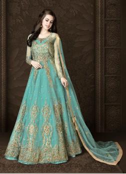 Elegant Zari Wedding Floor Length Anarkali Suit