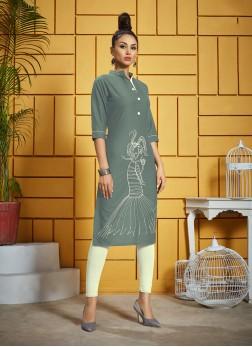 Elite Grey Thread Work Rayon Designer Kurti
