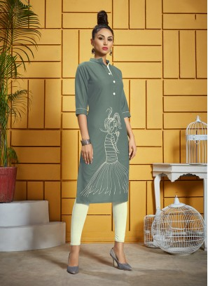 Elite Grey Thread Work Rayon Designer Kurti
