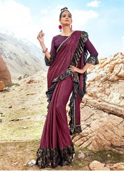 Elite Wine Print Classic Saree
