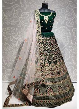 Emarald Green Velvet Embroiderd Lehenga Choli with Blouse