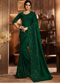 Embroidered Art Silk Classic Saree in Green