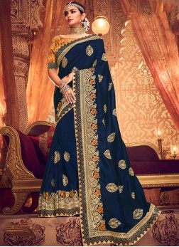Embroidered Art Silk Classic Saree in Navy Blue