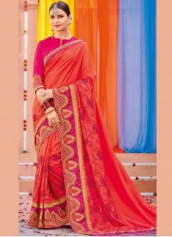 Embroidered Art Silk Designer Saree in Red