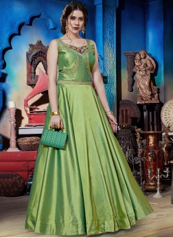 Embroidered Art Silk Readymade Trendy Gown  in Green