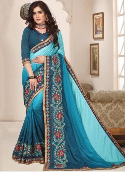 Embroidered Art Silk Trendy Saree in Turquoise