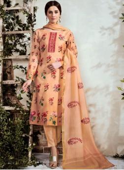 Embroidered Cotton Designer Suit in Peach