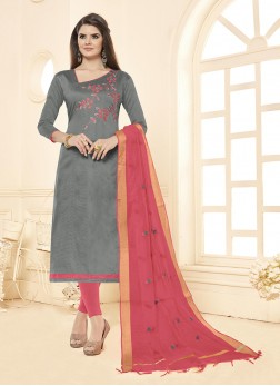 Embroidered Cotton Salwar Suit in Grey
