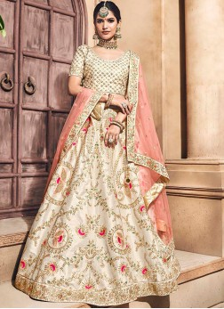 Embroidered Fancy Fabric Lehenga Choli in White
