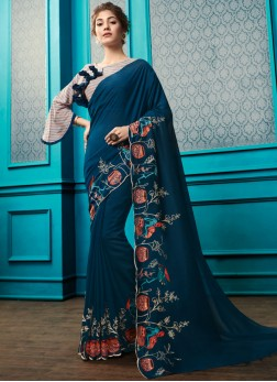 Embroidered Georgette Designer Saree in Teal with designer blouse