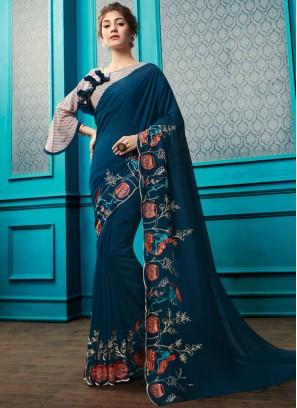 Embroidered Georgette Designer Saree in Teal with designer blouse