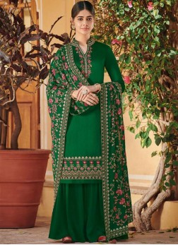 Embroidered Silk Palazzo Designer Salwar Kameez in Green