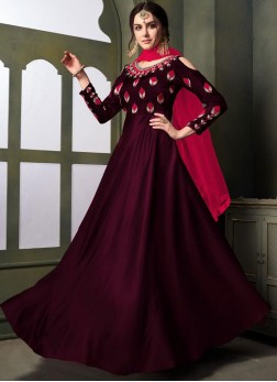 Embroidered Tafeta Silk Designer Gown in Magenta