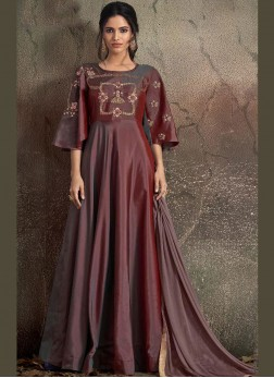 Embroidered Tafeta Silk Readymade Trendy Gown  in Maroon